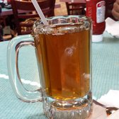 Apple juice in a beer mug. Well alright lol