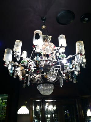 Chandelier made of used perfume bottles!