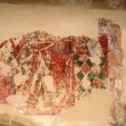 Martyerdom of St Thomas a Becket, wall-painting c 1340, oil on plaster