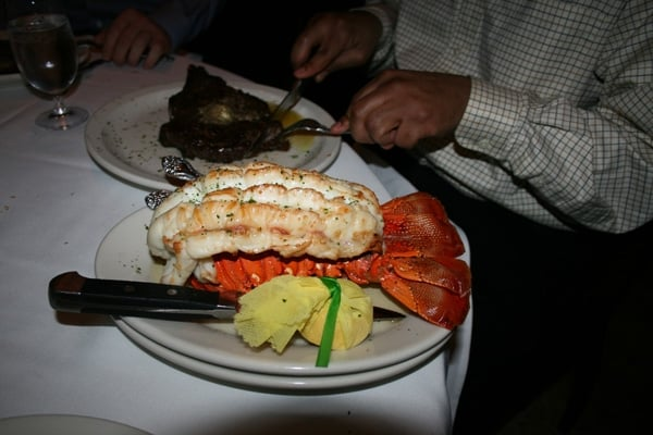 March 2008: private party in the Wine Cellar. The biggest lobster tail I have ever seen in ...