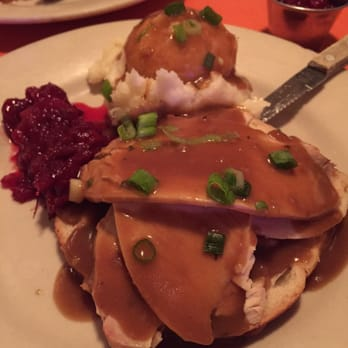 ... Open-faced turkey sandwich with mashed potatoes, gravy, and cranberry