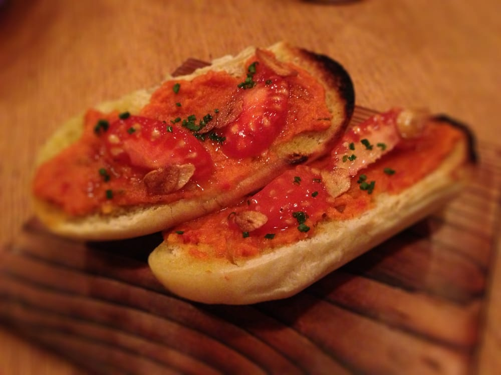 Pan Con Tomate - soft warm bread, tomato caviar, garlic, spanish ...