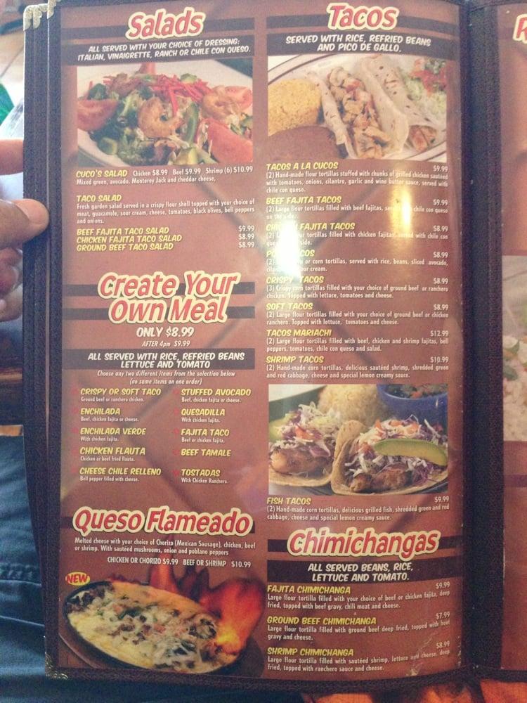 Los Cucos Mexican Restaurant Menu