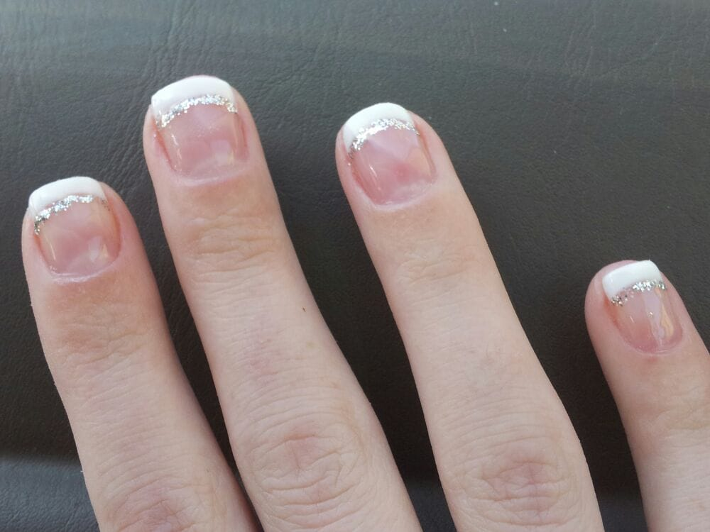 gel french manicure with a little sparkle for fun yelp. Black Bedroom Furniture Sets. Home Design Ideas