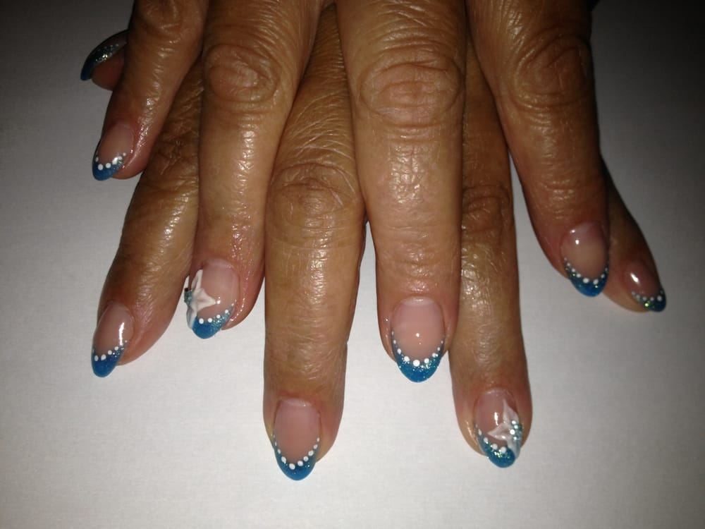 Blue French Classic Almond Nails with White Acrylic Flower ...