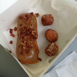 Blue Dot Donuts - Maple bacon long John and donut holes - New Orleans ...