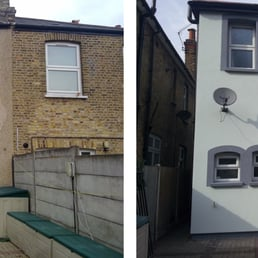 Solid wall insulation before and after - big improvement to the appearance of the property!