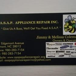 Asap appliance repair appliances repair belmont nc for Appliance repair business cards