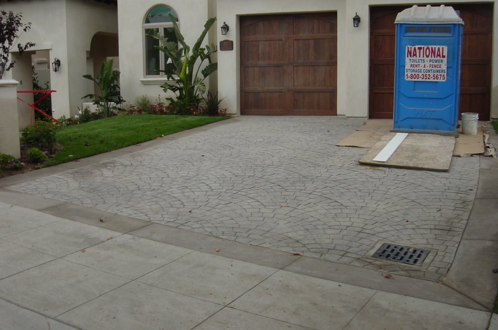 new colored stamped concrete driveway with border call us today for your free estimate 818. Black Bedroom Furniture Sets. Home Design Ideas