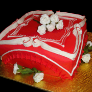 Red and White Anniversary Cake