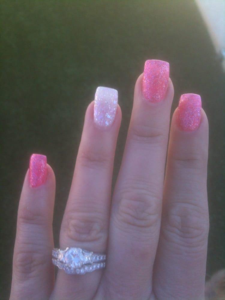 pink sparkle tip nails