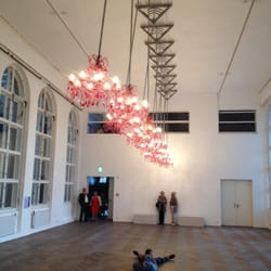 Swinging chandeliers at OK Center gallery