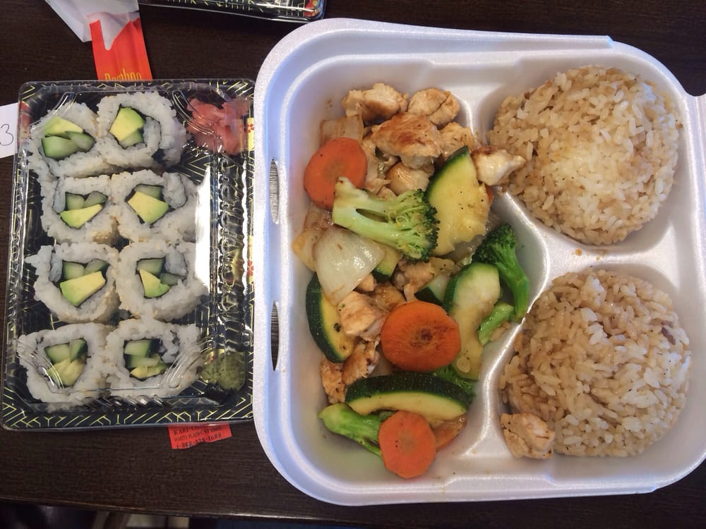 ... States. Hibachi chicken plate and cucumber and avocado sushi roll