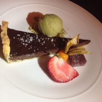 ... Bistro - Vancouver, BC, Canada. Chocolate tart with pistachio icecream