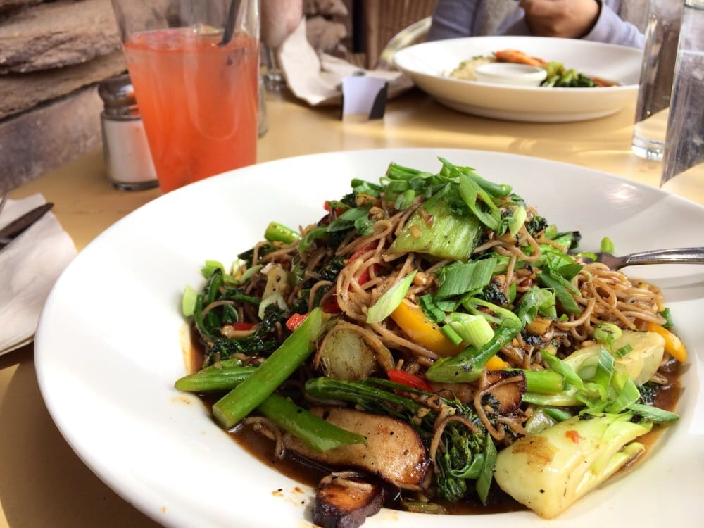 ... , NV, United States. Soba noodles with vegetable stir fry and tofu