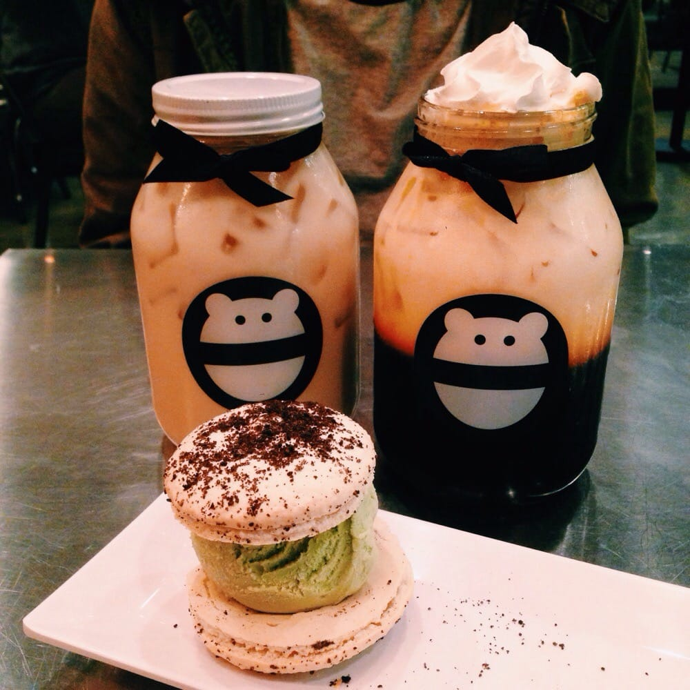 Jasmine milk tea, freshly brewed thai tea, Oreo macaron green tea ice ...