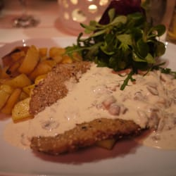 Wiener schnitzel with mushroom cream sauce.. hit the spot!