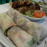 Vietnamese spring rolls with beef) and papaya salad with beef