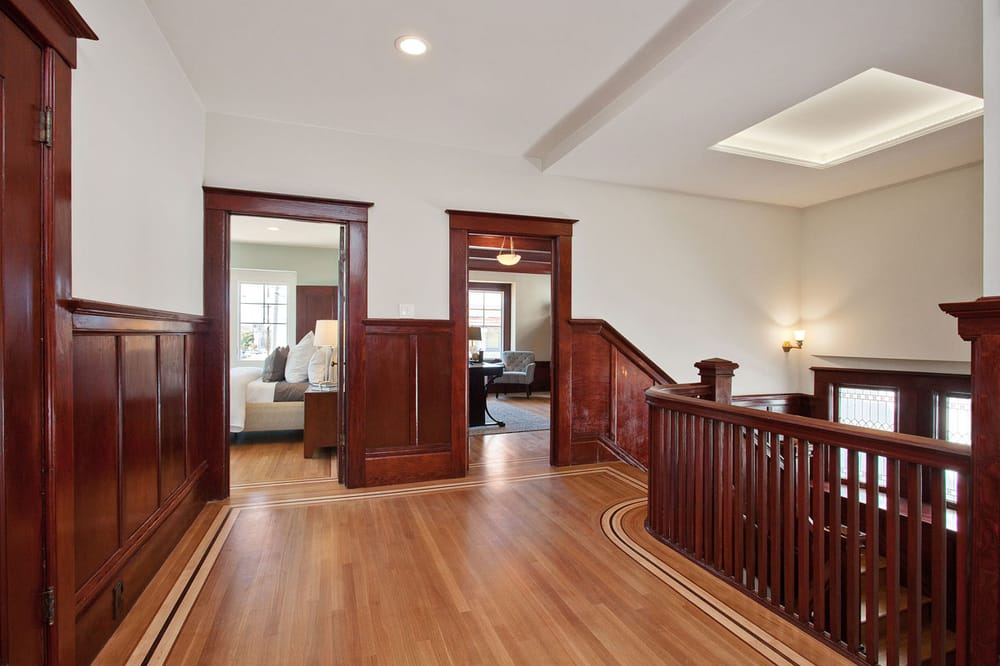 ... CA, United States. Whit oak floor with maple, cherry, and walnut trim