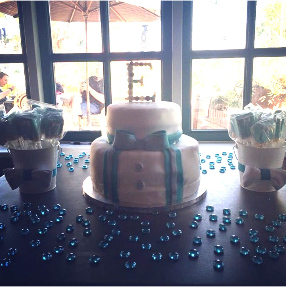 baby shower cake and chocolate covered rice krispies bow tie theme