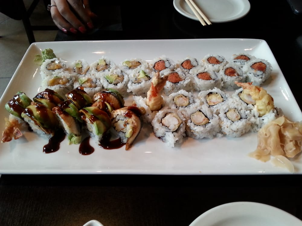 Scallop roll (top left), Spicy tuna (TR), Dragon (lower left), Shrimp ...