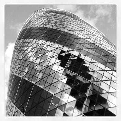 The Gherkin, in black and white
