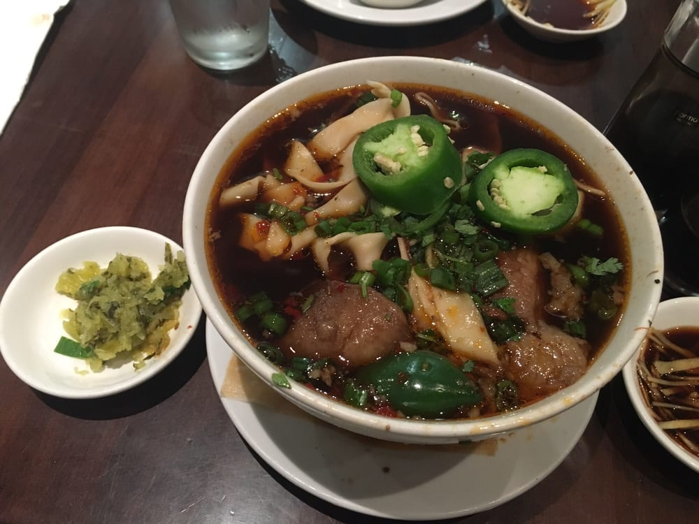... States. Beef noodle soup with pickled mustard greens on the side