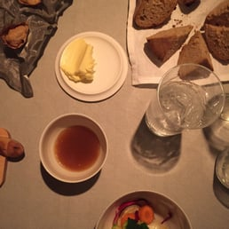 Amuse gueule - golden beet soup, root salad and amazing homemade bread