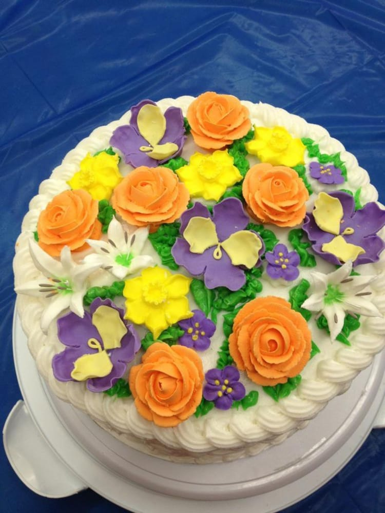 Basket weave cake with gum paste flowers Yelp