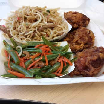 Mitsu-Ken Okazu and Catering - Fried saimin, green beans, and garlic ...