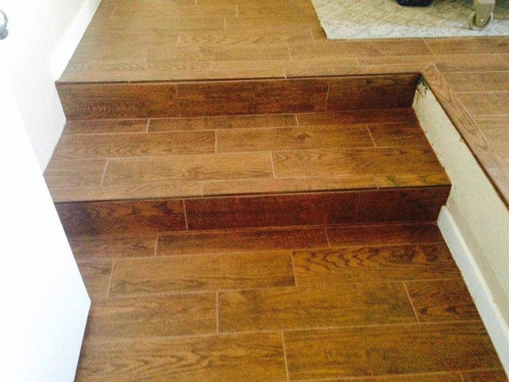 Wood plank tile steps yelp - Stairs with tile and wood ...