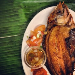 Daing Na Bangus. Marinated White Milkfish served with vinegar, Imported from the Philippines available everyday.