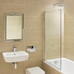 Mirabella Fully Frameless Fixed Bath Shower Screen 8mm Glass Easy Clean