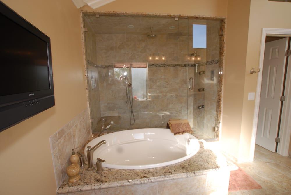 Custom steam room enclosure for master bathroom with spa for Master bathroom vaulted ceiling