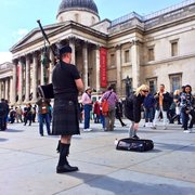 A little bagpipes outside the National…