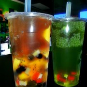 Crazy Panda & Green Apple Jasmine green tea w/ basil seeds & mixed fruit jelly.