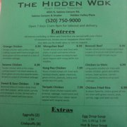 The Hidden Wok - Tucson, AZ, États-Unis. Menu