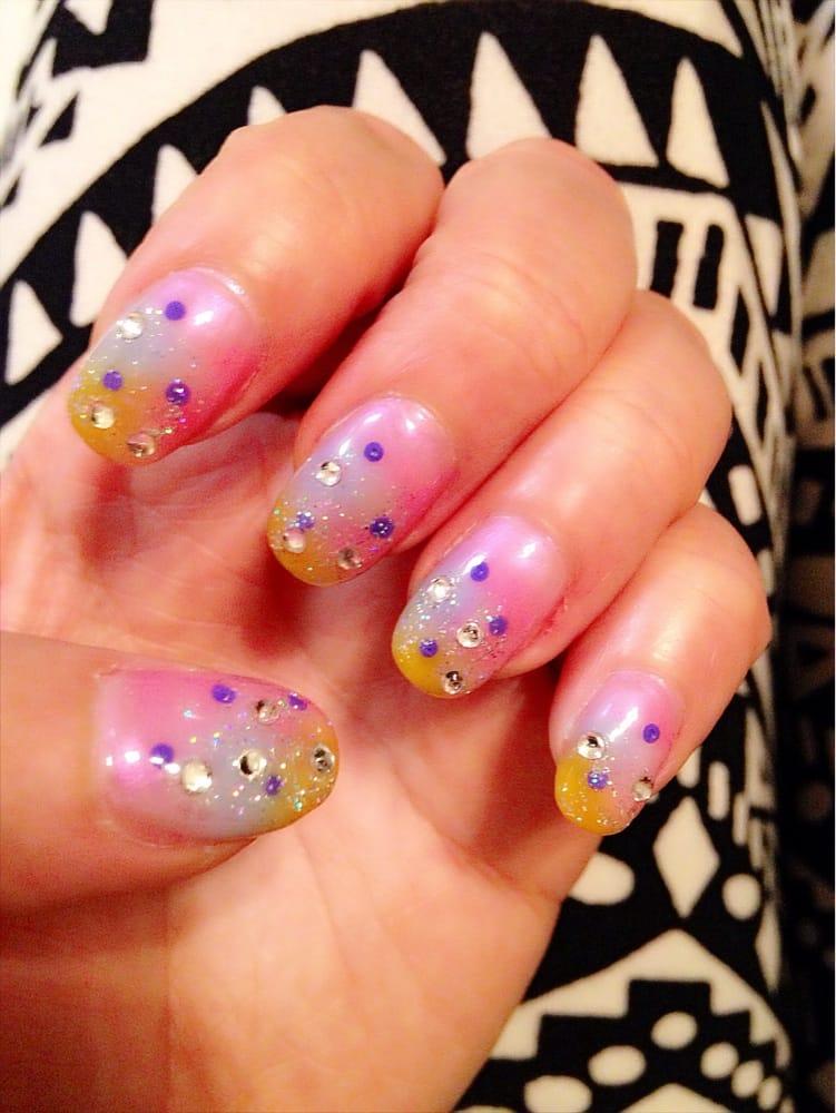 Love my tri color cosmic nail art design | Yelp