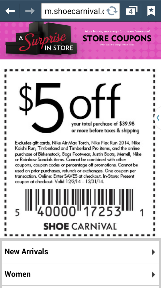 These two offers combined will get you a great price on Holiday shoes. Shoe Carnival locations are in American Fork, Orem, West Jordan, Brickyard