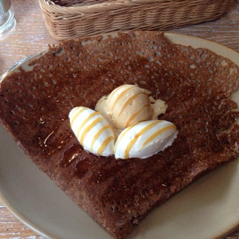 Buckwheat pancake with caramel sauce, caramel ice cream, and whipped ...
