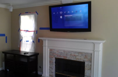 fireplace install of a panasonic plasma tv with a pioneer