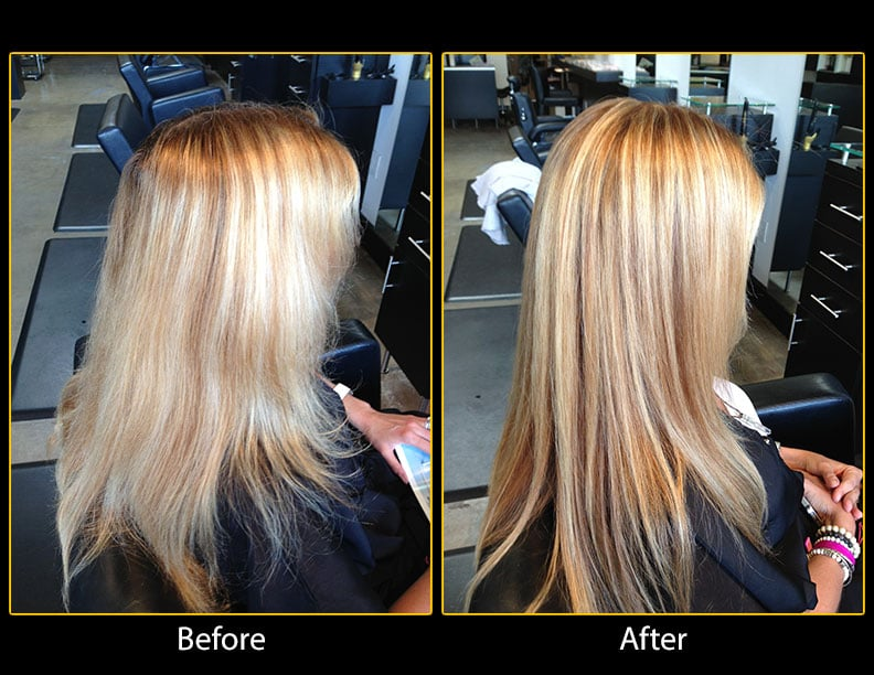 Lacking dimension in her hair color we added multiple for A r salon hermosa beach