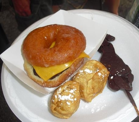 Crispy Kreme burger, deep fried butter, chocolate covered bacon | Yelp