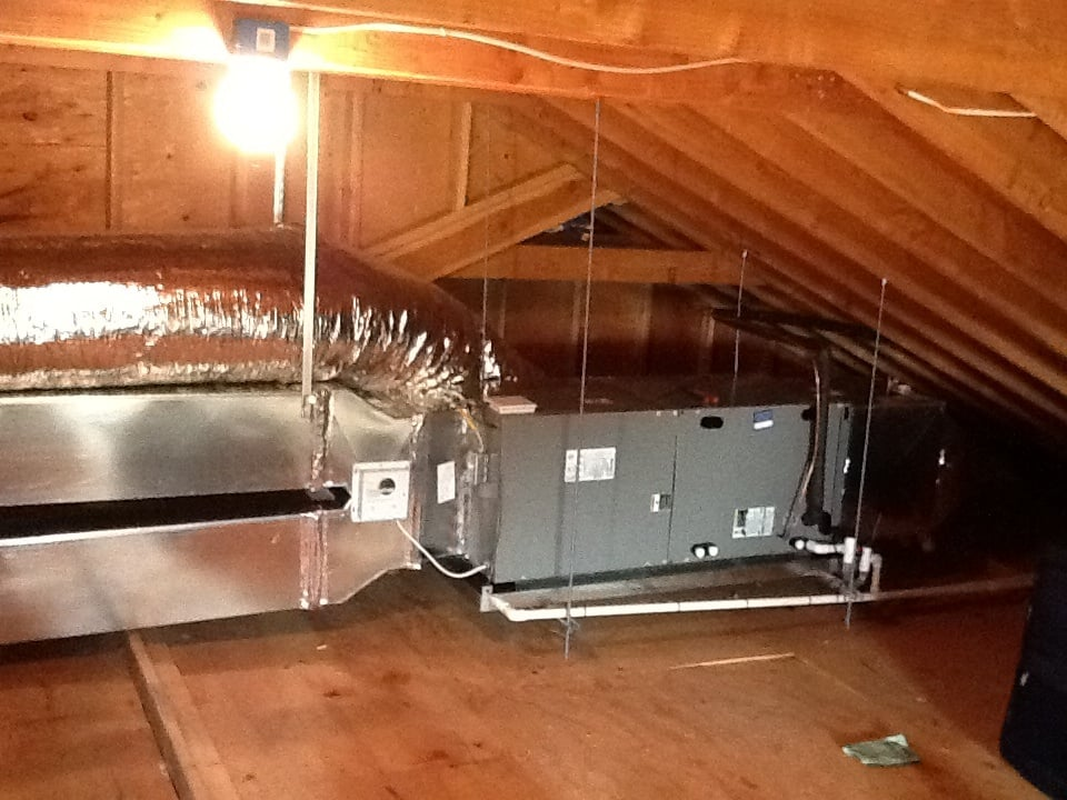 Air Handler Attic Installation Fully Suspended Primary