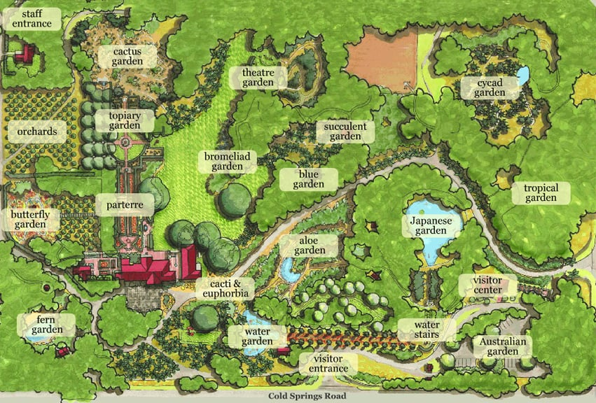 Map Of Lotusland Gardens Entrance Is On Cold Springs