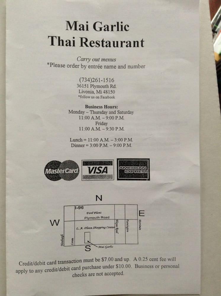 Thai Restaurant Plymouth Mi