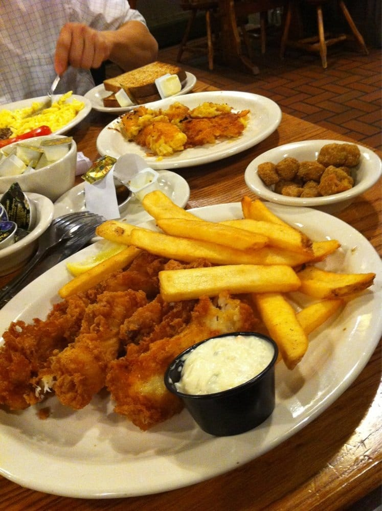 Friday fish fry cod with a side of fries and fried okra for Friday fish fry near me