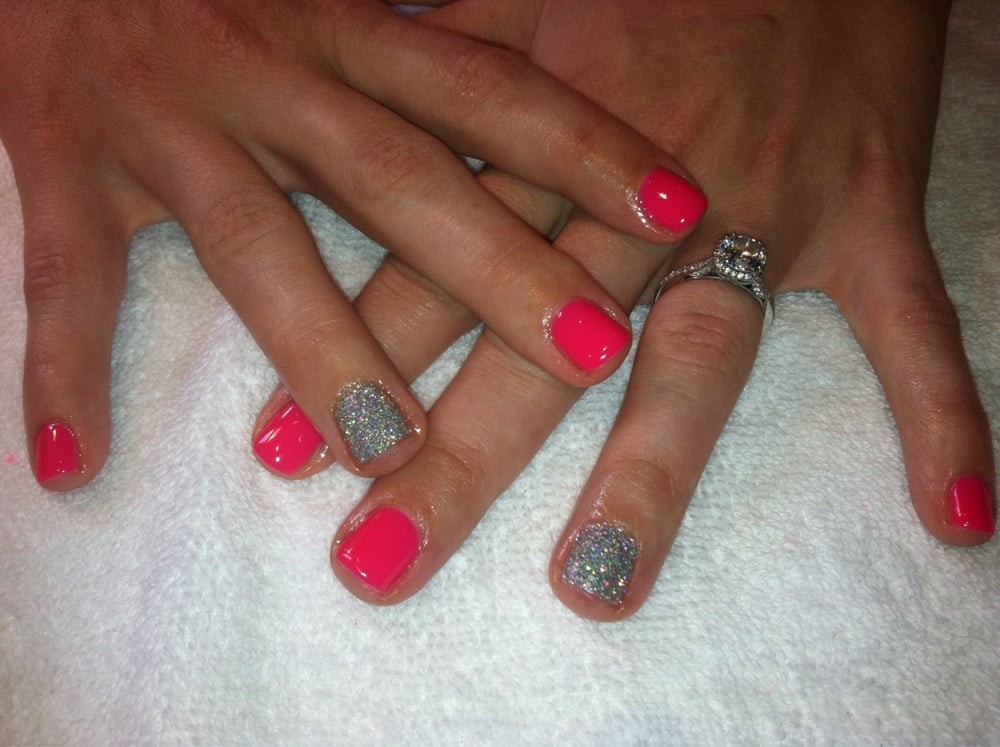 Sarah Mills Nails - Carlsbad, CA, United States. Hot pink gel manicure