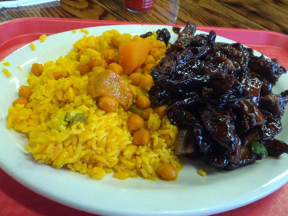 Liborios Latin Cafe - yellow rice, garbonzo beans, teriyaki chicken ...