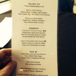 Bolt tower cafe menu